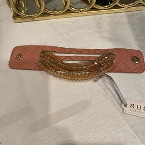 RUSH BY Denis &Charles Pink leather beaded cuff